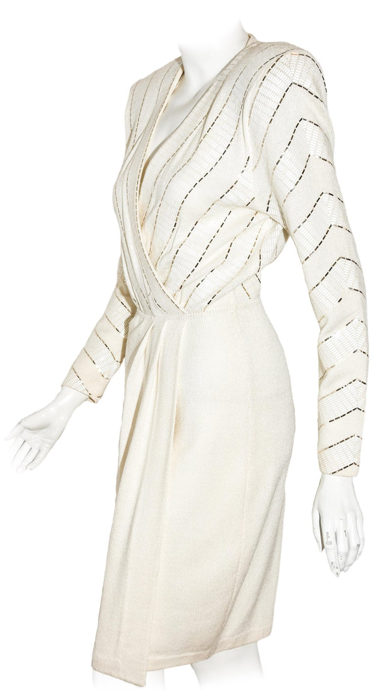 Women's St. John Winter White V Neck Dress With Gold Tone Sequins on Bodice For Sale