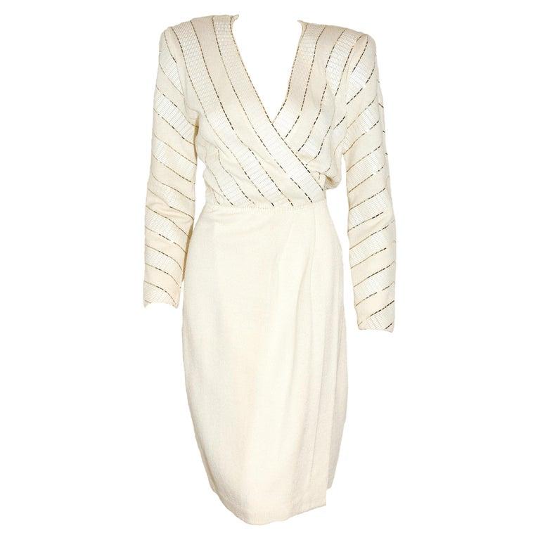 St. John Winter White V Neck Dress With Gold Tone Sequins on Bodice For Sale
