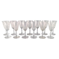 St. Louis, Belgium, 13 Glasses in Mouth Blown Crystal Glass, 1930s-1940s