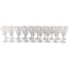 St. Louis, Belgium, 19 Glasses in Mouth Blown Crystal Glass, 1930s-1940s