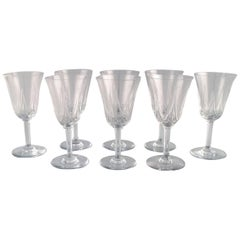 St. Louis, Belgium, Eight Red Wine Glasses in Mouth-Blown Crystal Glasses