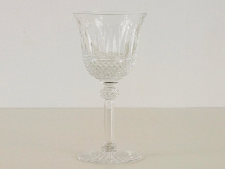 Very rare extensive set of vintage crystal glasses by St. Louis, Crystal, France.   All glasses are very fine handcut in an exceptional pattern. French cut-crystal is renowned for quality and style. St. Louis, still operating today, is one of