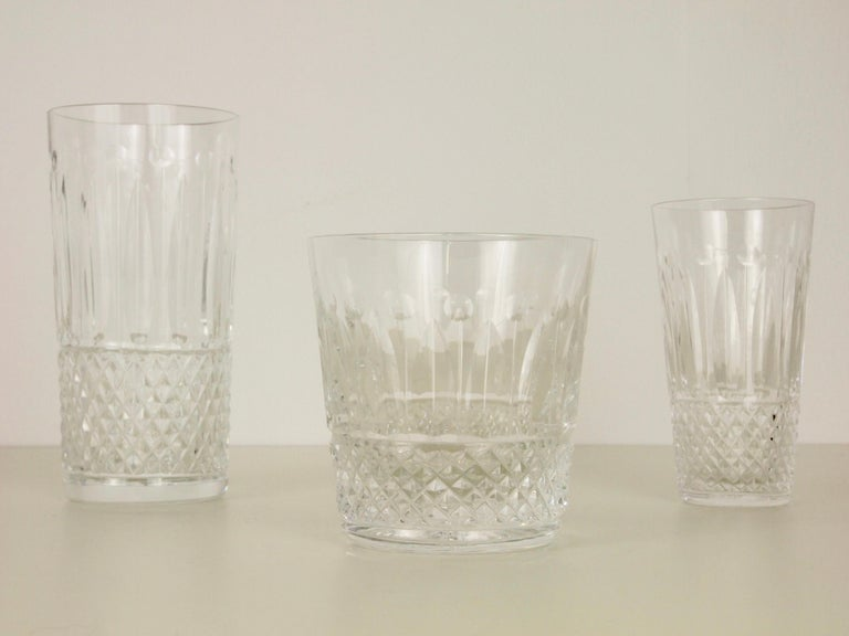 20th Century St. Louis French Extensive Set of 56 Vintage Crystal Drinking Glasses For Sale