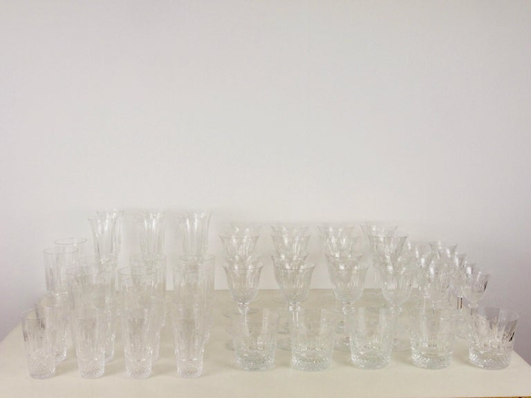 St. Louis French Extensive Set of 56 Vintage Crystal Drinking Glasses For Sale 2