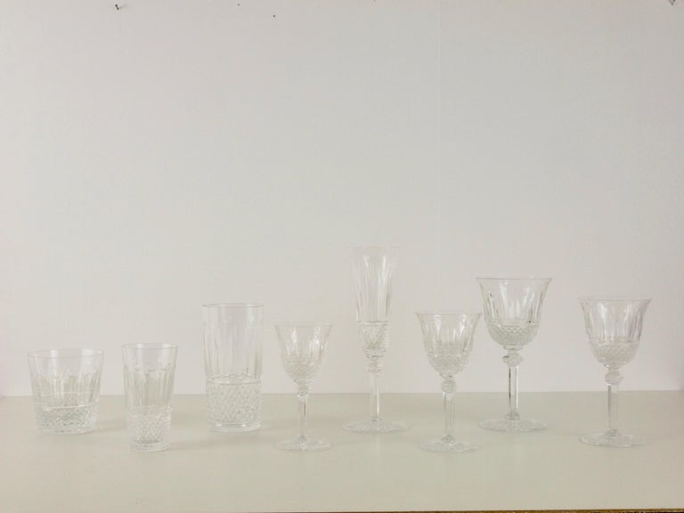 St. Louis French Extensive Set of 56 Vintage Crystal Drinking Glasses For Sale 3