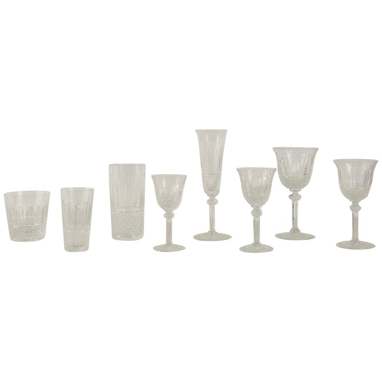 St. Louis French Extensive Set of 56 Vintage Crystal Drinking Glasses For Sale