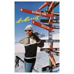 St Moritz 1970 Ski Poster, Hans Nater