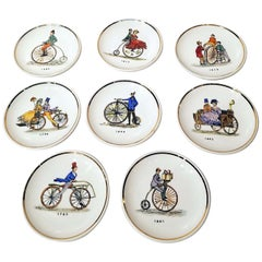 St of 8 Bucciarelli Coasters Fornasetti Era of Antique Bicycles