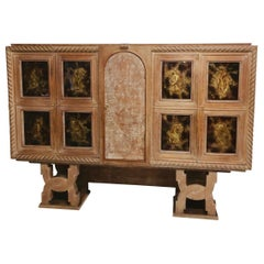 St of Moreux, Ceruse Oak Cabinet Dry Bar Mirror Shelves Eglomise Glass Doors