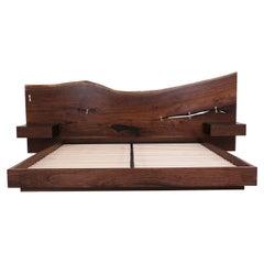 St. Pierre King Bed by Uhuru, Walnut Slab Headboard and Built in Nightstands