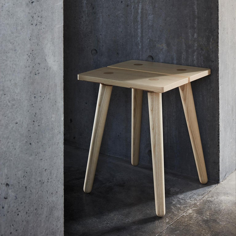The Stabellenstuhl, or stable stool, is our modern take on a Swiss staple, found inside any Alpine home. Its 100% solid European ash seat is held together by turned legs and strong joinery. Any weight applied to the seat gains extra stability