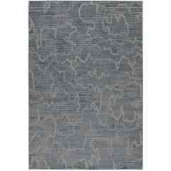 Staccato Steel Hand-Knotted 6x4 Rug in Wool and Silk by Kelly Wearstler
