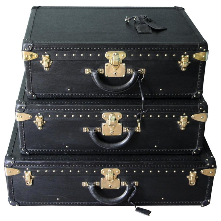 Stack of Black Louis Vuitton Alzer Suitcases, Louis Vuitton Trunks Louis Vuitton For Sale