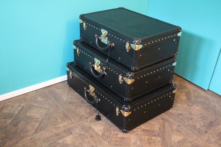 Stack of Black Louis Vuitton Alzer Suitcases, Louis Vuitton Trunks Louis Vuitton For Sale 4
