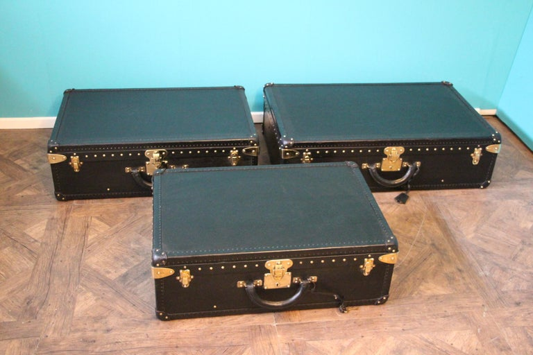 Stack of Black Louis Vuitton Alzer Suitcases, Louis Vuitton Trunks Louis Vuitton For Sale 5