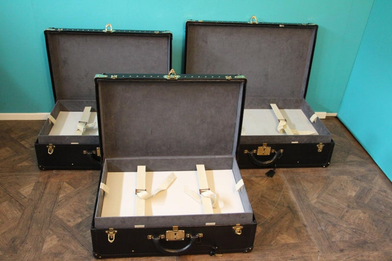 Stack of Black Louis Vuitton Alzer Suitcases, Louis Vuitton Trunks Louis Vuitton For Sale 6