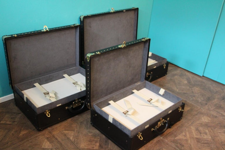 Stack of Black Louis Vuitton Alzer Suitcases, Louis Vuitton Trunks Louis Vuitton For Sale 7