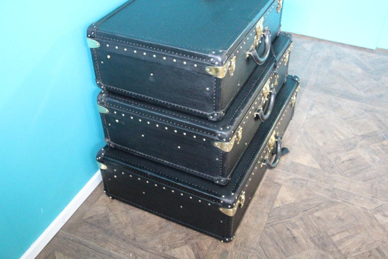 Late 20th Century Stack of Black Louis Vuitton Alzer Suitcases, Louis Vuitton Trunks Louis Vuitton For Sale