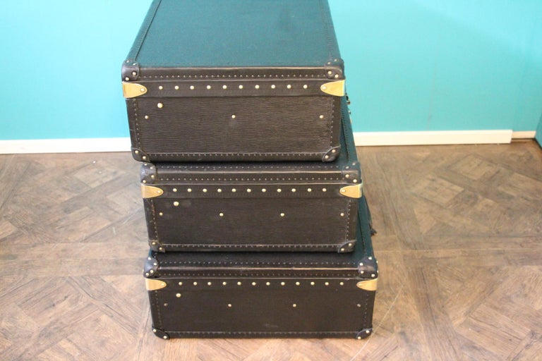Stack of Black Louis Vuitton Alzer Suitcases, Louis Vuitton Trunks Louis Vuitton For Sale 1