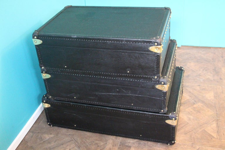 Stack of Black Louis Vuitton Alzer Suitcases, Louis Vuitton Trunks Louis Vuitton For Sale 2