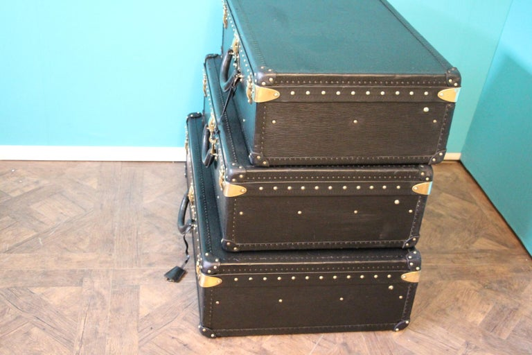 Stack of Black Louis Vuitton Alzer Suitcases, Louis Vuitton Trunks Louis Vuitton For Sale 3