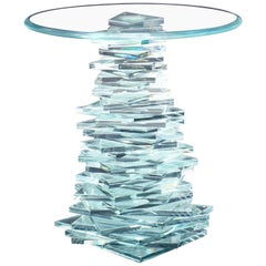 Stack of Cut Glass Base Round Top Side Coffee Table Arts & Crafts