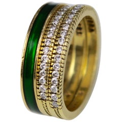 Stack Rings with Green Enamel and Diamonds, circa 1990s