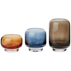 Stack Set of 3 Blown Glass Tea Lights and Vase by Studio Føy for Warm Nordic