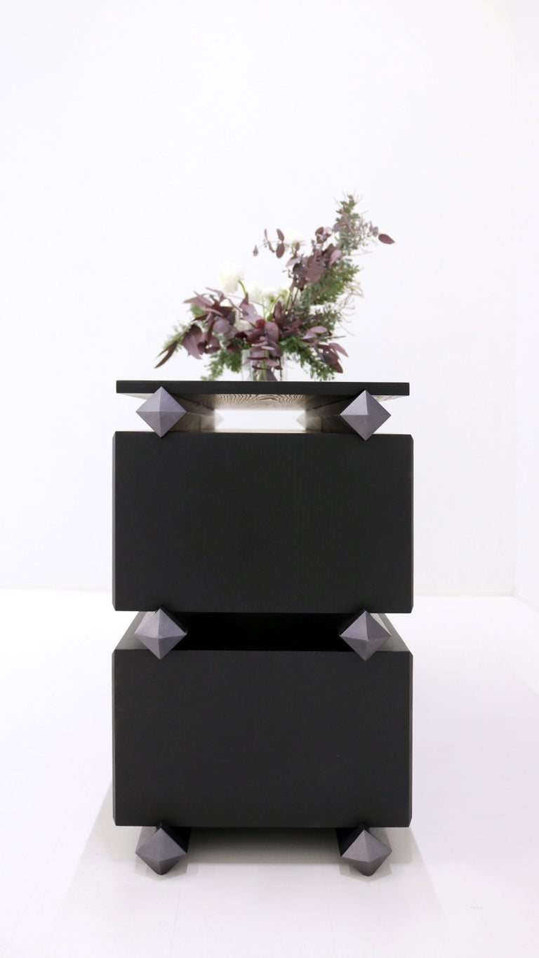 Contemporary Stack Storage Black Ashwood and Gray Metal by Debra Folz For Sale