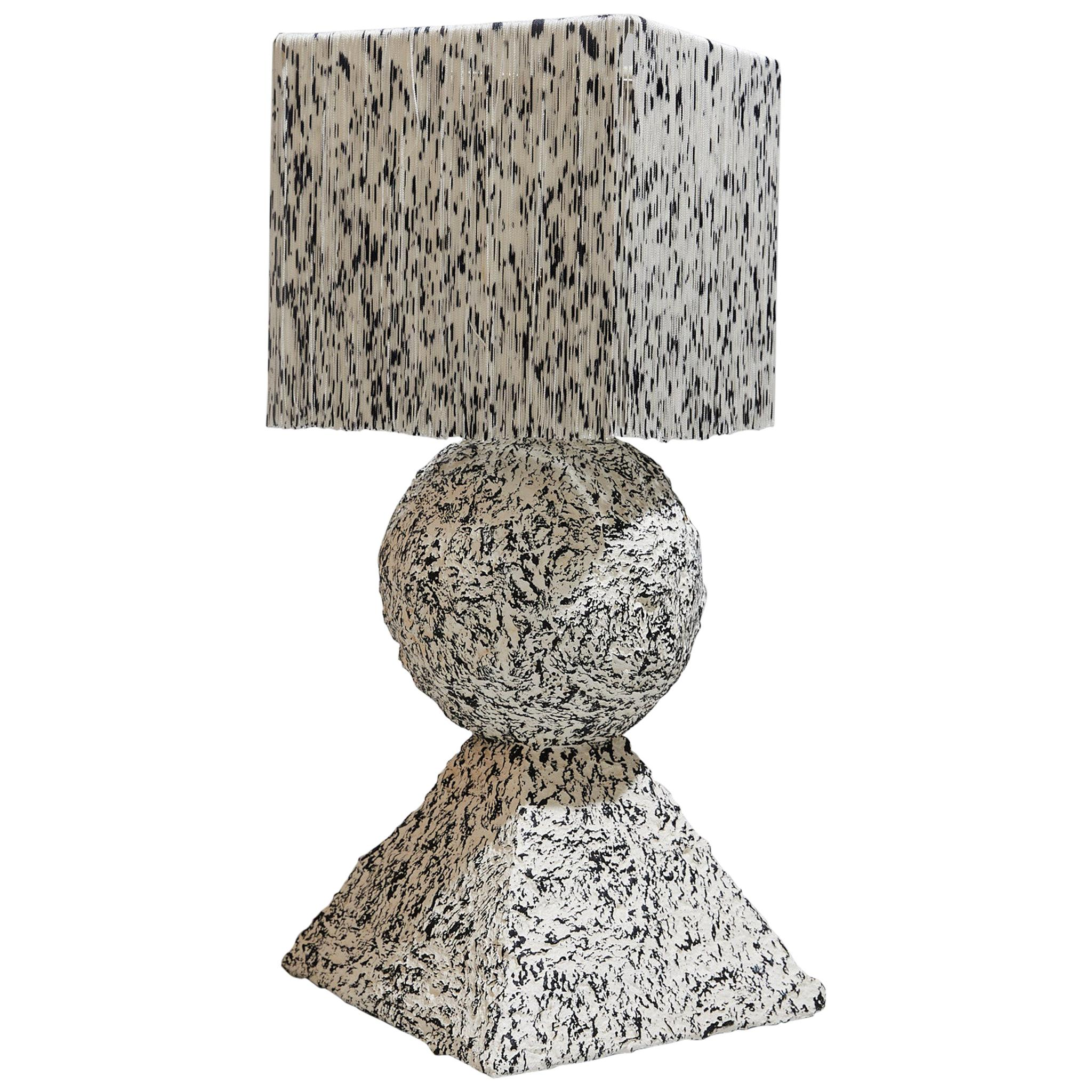 Stack Table Lamp in Lacquered Papier Mâché and Hand Dyed Silk Fringe