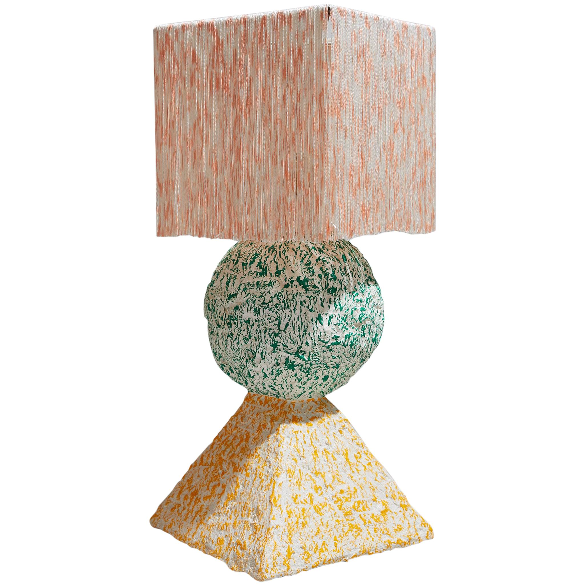 Stack Table Lamp in Multi-Color Lacquered Papier-Mâché and Hand-Dyed Silk Fringe
