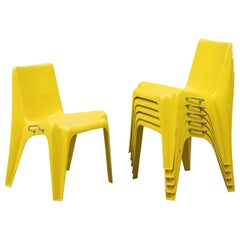 Stackable Bofinger Yellow Chairs by Helmut Batzner, First Edition, Set of 6
