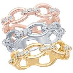 14K White, Yellow, Rose Gold Chain Link Diamond Rings