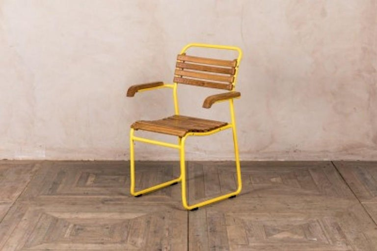 Wood Stackable Chair with Arms, 20th Century For Sale