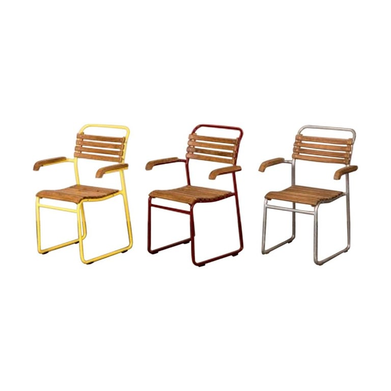 Stackable Chair with Arms, 20th Century For Sale