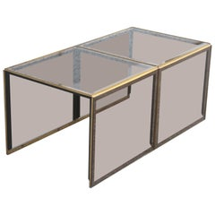 Stackable Coffee Tables in Mirrored Golden Brass Glass with a Square Shape 1970s
