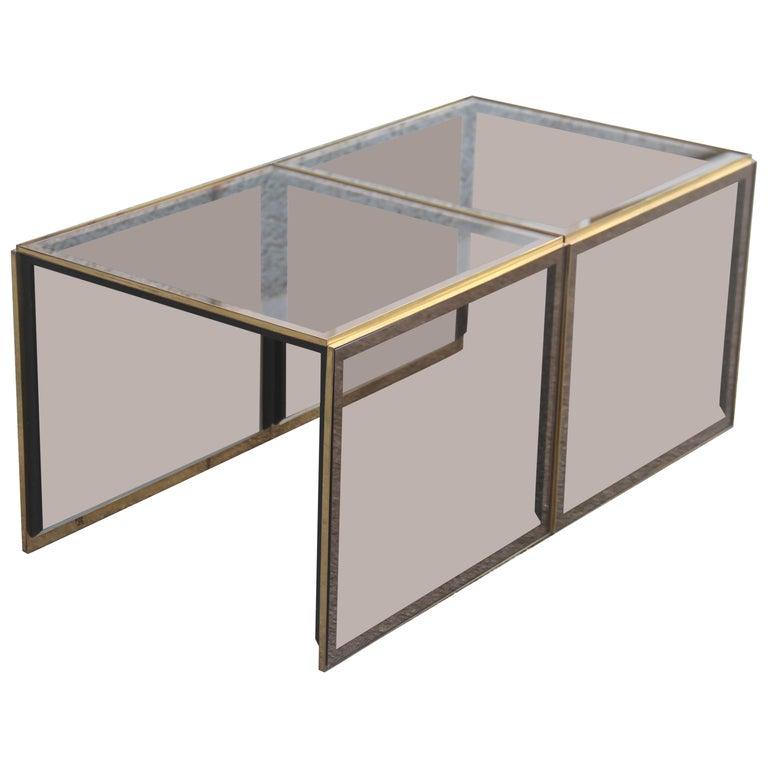 Wondrous Stackable Coffee Tables In Mirrored Golden Brass Glass With A Square Shape 1970S Inzonedesignstudio Interior Chair Design Inzonedesignstudiocom