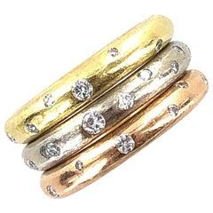 Stackable Diamond 18 Karat Tri-Color Gold Rings