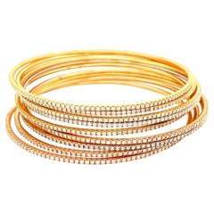 Stackable Diamond Yellow Gold Rose Gold White Gold Bracelet Bangle