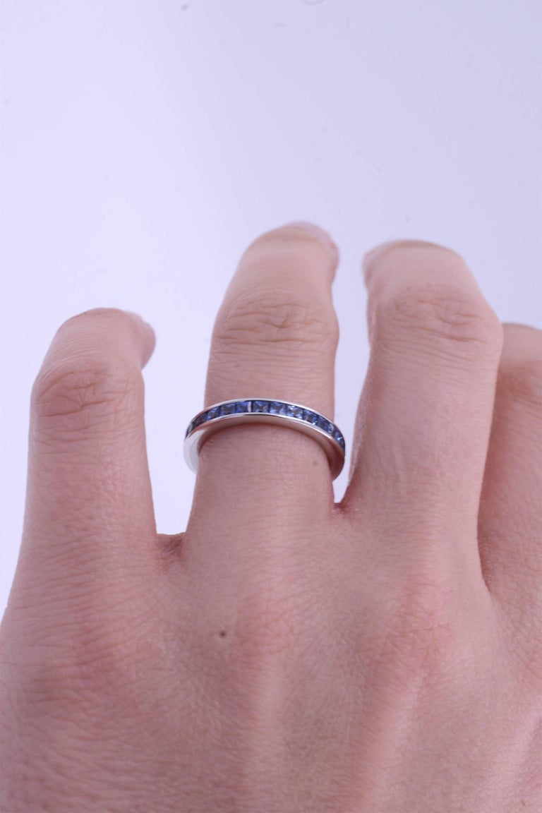 Stackable Sapphire Channel Set Eternity Ring 1.90 Carat, 18 Karat ...