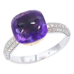 Stackable Special Faceted Amethyst Ring Diamond Pavé 18 Karat Gold