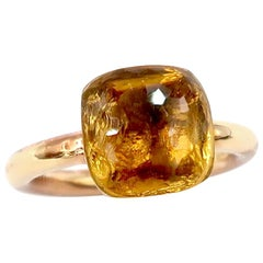 Stackable Special Faceted Citrine Ring Plain 18 Karat Gold