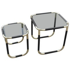 Stackable Tables in Black Resin and Gold Brass Design 1970 Italian Willy Rizzo