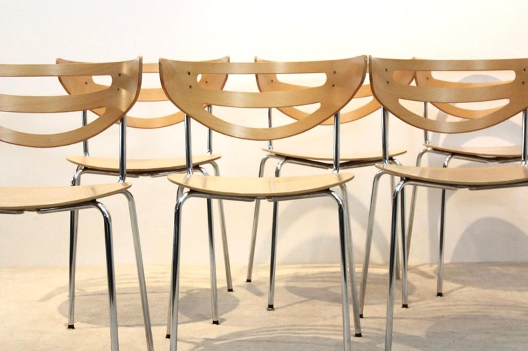 Austrian Stackable Thonet Chrome and Beechwood Curved Diner Chairs For Sale