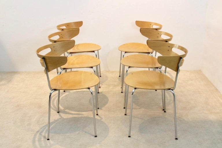 Stackable Thonet Chrome and Beechwood Curved Diner Chairs For Sale 2