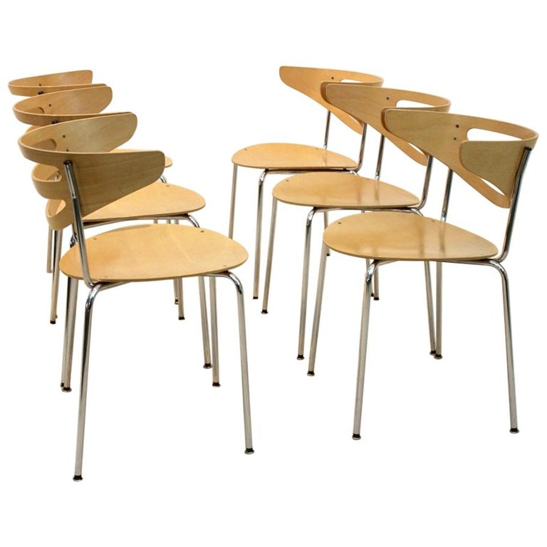 Stackable Thonet Chrome and Beechwood Curved Diner Chairs For Sale