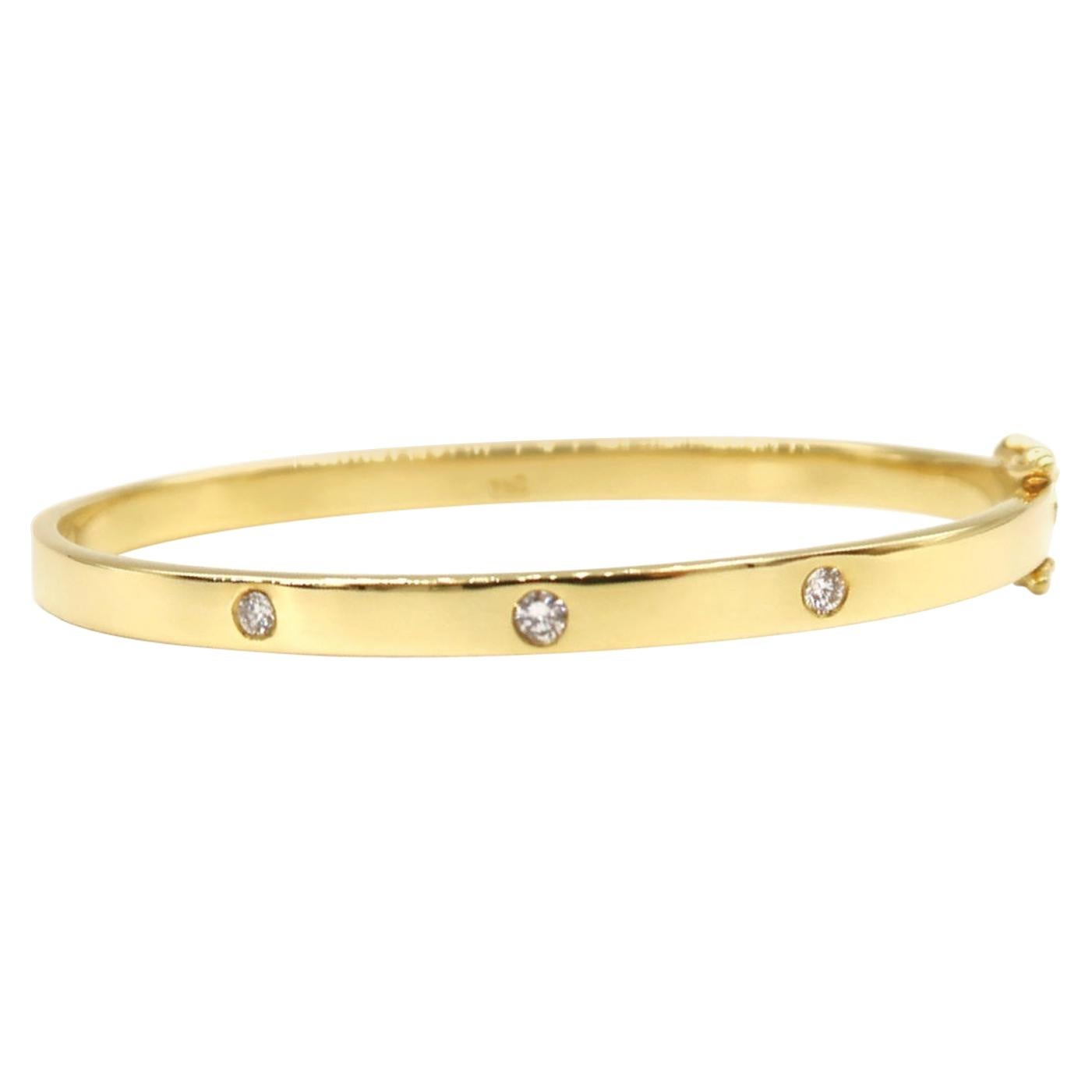 Stackable Three-Stone Diamond Flat Shiny Bangle in 18k Yellow Gold
