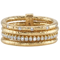 Stacked 22 Karat Gold Rings with Approximate 0.55Ctw Old European Cut Diamonds