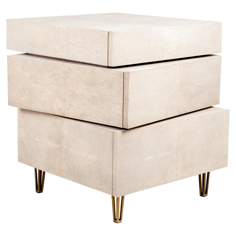 Stacked Bedside Table in Cream Shagreen and Bronze-Patina Brass by R&Y Augousti For Sale