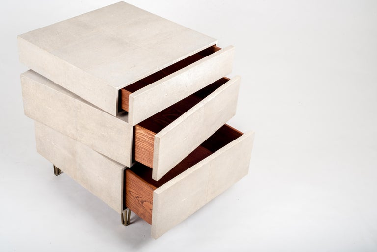 French Stacked Bedside Table in Cream Shagreen and Bronze-Patina Brass by R&Y Augousti For Sale